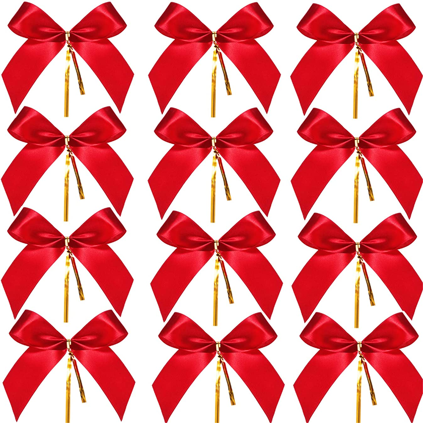 Sumind Christmas Bow Ribbon Bow for Christmas Tree, Christmas Wreath, Gift Decoration (48 Pieces, Size M)