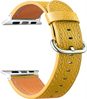 Easyoung for Apple Watch Band 38mm 42mm Leather Replacement Wristband Sport Strap for iWatch Nike+, Series 3, Series 2, Series 1, Sport, Edition, 7 Colors Available