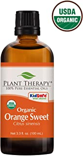 Plant Therapy Orange Sweet Organic Essential Oil 100% Pure, USDA Certified Organic, Undiluted, Natural Aromatherapy, Therapeutic Grade 100 mL (3.3 oz)