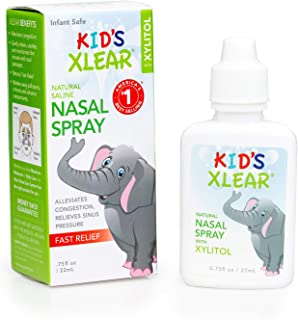 Xlear Kid's Nasal Spray with Xylitol, All-Natural Saline Nasal Spray for Sinus Rinse & Sinus Relief 0.75 fl oz