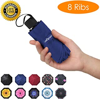 Travel Mini Umbrella Windproof UV Folding Compact Umbrella Portable Lightweight Sun & Rain Umbrellas for Women and Men