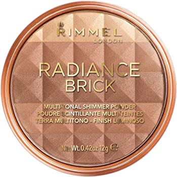 Rimmel London Radiance Shimmer Brick Pressed Bronzer, Light-As-Air Contouring Formula for Luscious Look, 002 Medium, 12 g