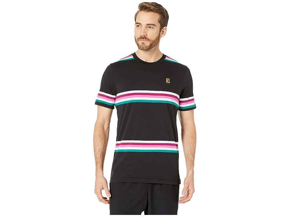 Nike NikeCourt T-Shirt Heritage Stripe (Black/Multicolor) Men