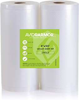 "2 Pack 8"" x 50' Rolls Vacuum Sealer Bags for Food Saver, Seal a Meal Vac Sealers Heavy Duty Commercial, BPA Free, Sous Vide Vaccume Safe, Cut to Size Storage Bag 100 Feet Embossed Avid Armor"