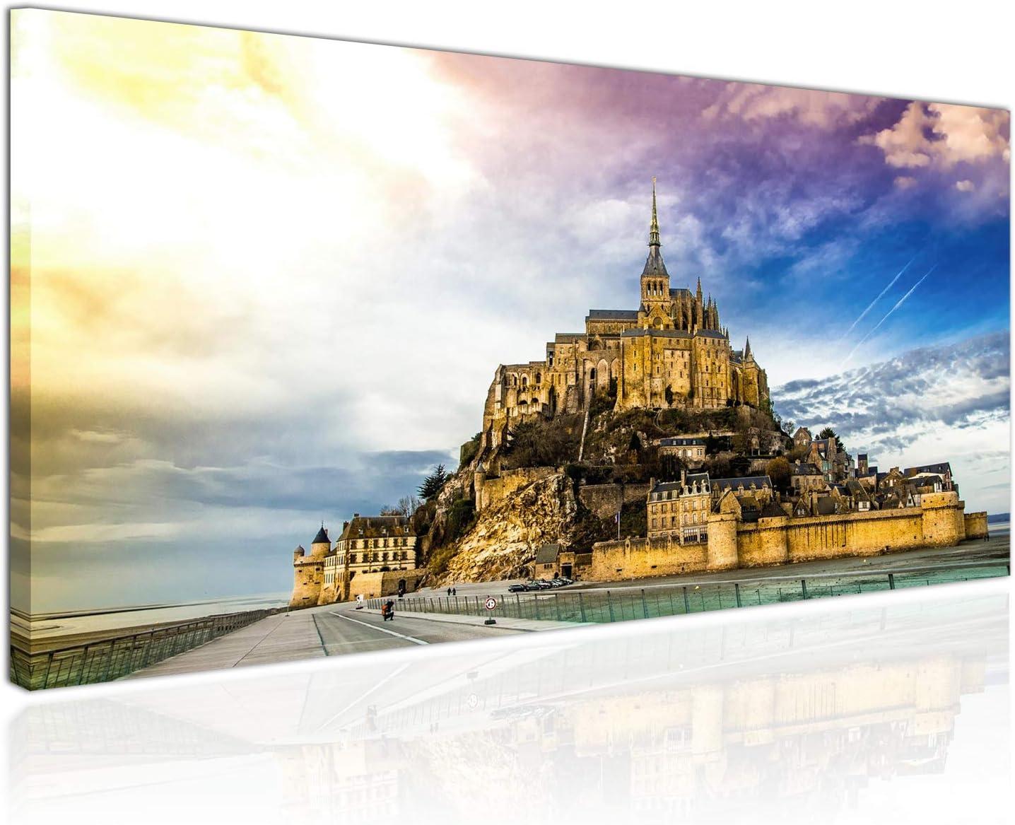 Fantasie Bild auf Leinwand Berge und Winterlandschaften Kirche auf Dem H/ügel Topquadro Wandbild Einteilig Leinwandbild 70x50cm Keilrahmenbild
