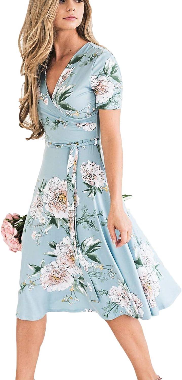 Summer Women's Bohemian Floral Sundress V-Neck Loose Empire Fashion Casual Dress