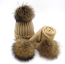KKONION creative pom pom knitted hat scarf wool knitted scarf adult kids real reaccoon fur pom pom scarf and beanie set