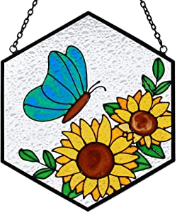 Stain Glass Sunflower Butterfly Suncatcher Flower Stained Glass Painting Clear Panel Pendant Window Wall Garden Hanging Wind Chime Home Outdoor Decor Sunflower Ornament Memorial Birthday Gift