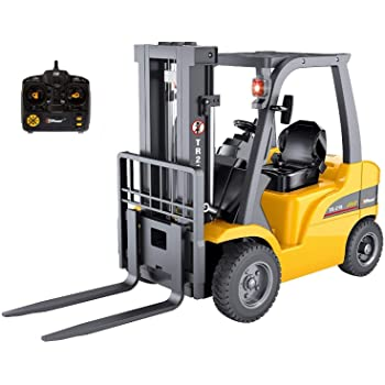 Top Race Jumbo Remote Control Forklift 13 Inch Tall, 8 Channel Full Functional Professional RC Forklift Construction Toys, High Powered Motors, 1:10 Scale - Heavy Metal - (TR-216)