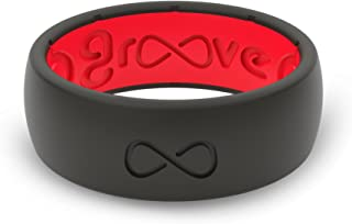 Groove Plus Life mens Groove Life - Black/Red Size 10 Silicone Rings for Men- Safe Wedding Band, Yoga, Crossfit Rubber Ring, Weight Lifting, Training, Exercise, Fitness, Medical Grade Silicone, Midnight Black/Raspberry Red, 10-Original