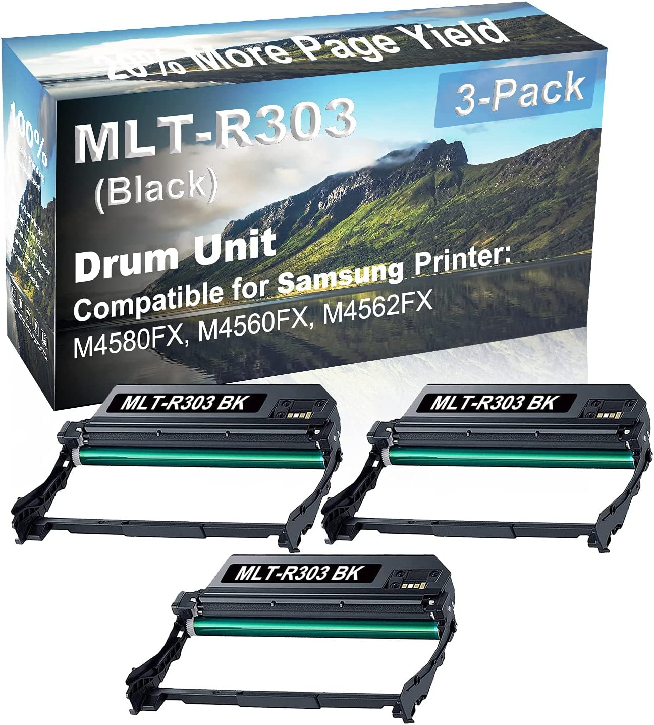 3-Pack Compatible Drum Unit (Black) Replacement for Samsung MLT-R303 Drum Kit use for Samsung M4580FX, M4560FX, M4562FX Printer