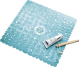 InterDesign Pebblz Non-Slip Suction Bath Mat for Shower, Bathtub - Square, Blue