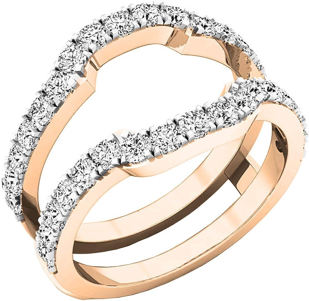 Dazzlingrock Collection Diamond Wedding Band Enhancer Guard Ring from 1/4 Carat to 1 Carat White Diamond Ring in 10K Rose Gold