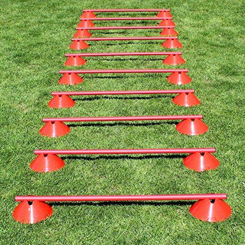 Superspieler24 Mini-Hürden 10er Set, rote Markiermulden und rote Stangen 100 cm, für Fußballtraining