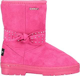 Girls Microsuede Winter Boots with Gold Studded Bows Casual Dress Shoes