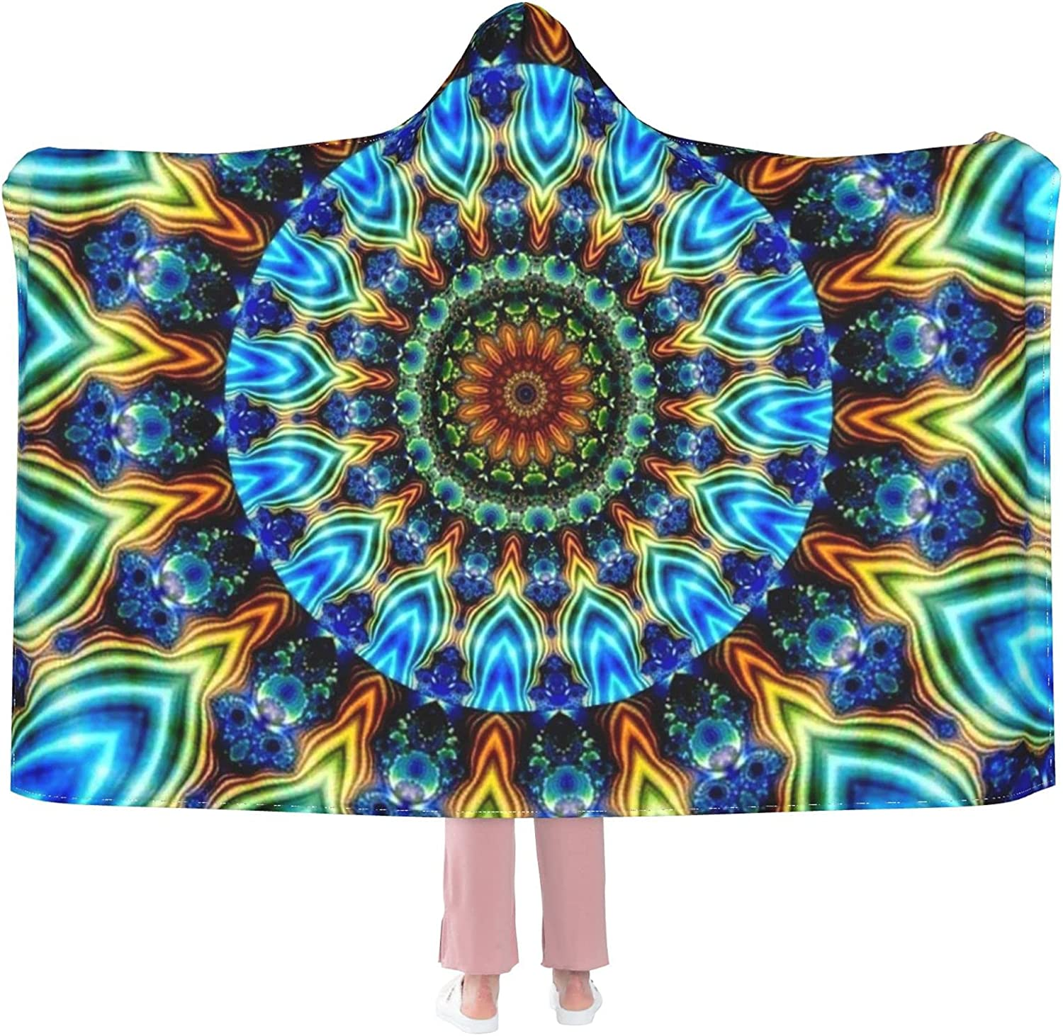 DISOO Mandala Hooded Blanket for At the price of Ranking TOP11 surprise Throw Wearable Kids Bla Adults