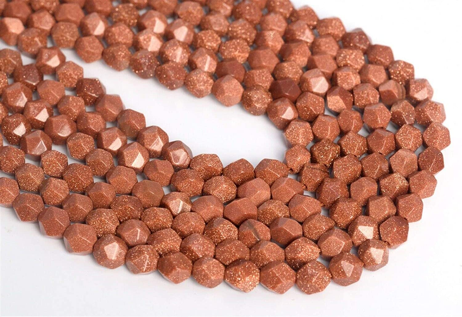 Gemstone Gold Goldstone Beads Max 78% OFF Star Today's only 7-8mm Stran Cut Faceted Loose