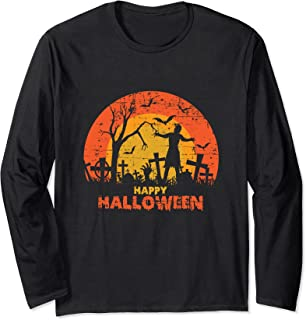 Cimetière grunge effrayant Happy Halloween Manche Longue