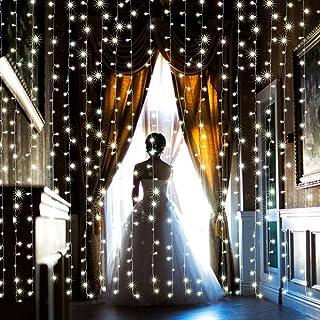 【水中にも適用】AGPtEK 3M×3M/300 LEDカーテンライト USB給電式 8 点滅 パターン結婚式、学園祭、誕生会、ハロウィーン、クリスマスパーティー、バレンタインデー、記念日などイベント大活躍 飾り 防水国際基準防水IP67 LE...