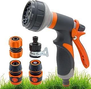 Senkora Garden Hose Nozzle Spray Gun 8 Patterns Adjustable High Pressure Anti-Slip with Quick Connect Adapters for Waterin...