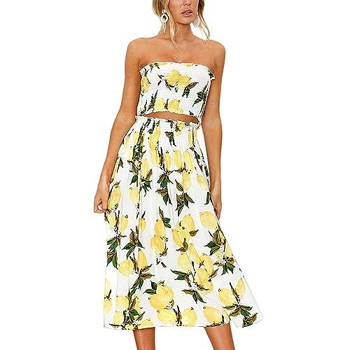 488118baf8 Women's Dresses Summer Floral Crop Top Maxi Skirt Set 2 Piece Outfit Dress