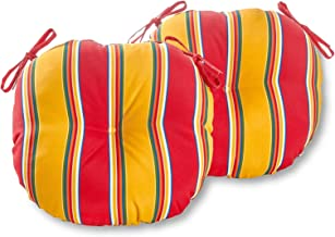 South Pine Porch AM5817S2-CARNIVAL Carnival Stripe 18-inch Round Outdoor Bistro Chair Cushion, Set of 2, Red/Yellow