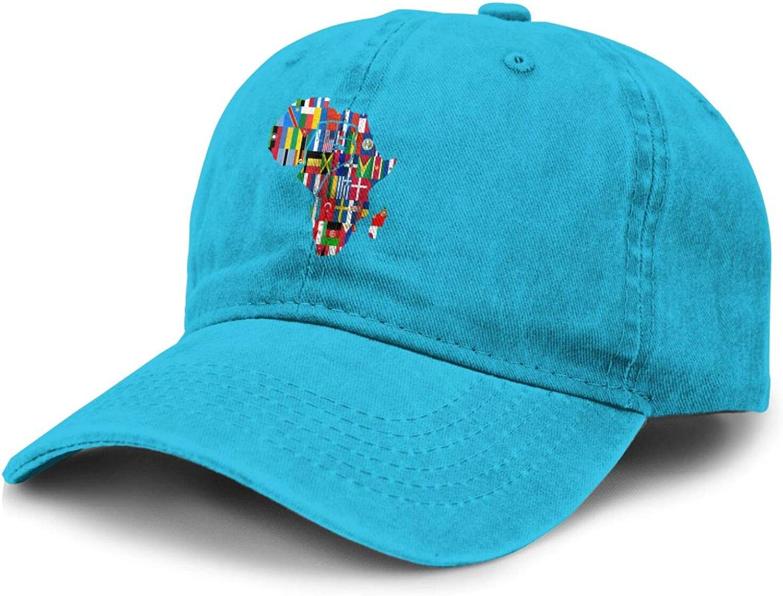 Africa Map National Flag Adult Curved Brim Baseball Hat Sports Cowboy Cap