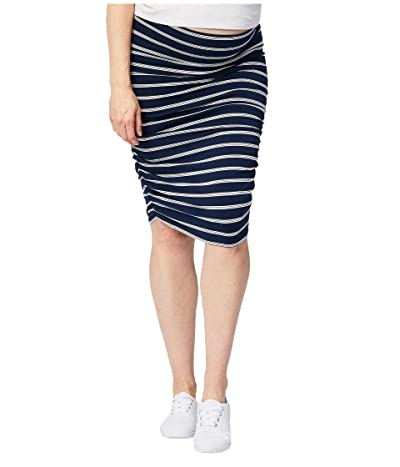 Cake Maternity Maternity Ruched Fitted Skirt (Stripe) Women
