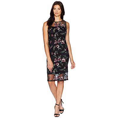 Calvin Klein Embroidered Dress with Illusion Yoke CD8LB4CY (Black/Rosewood Multi) Women