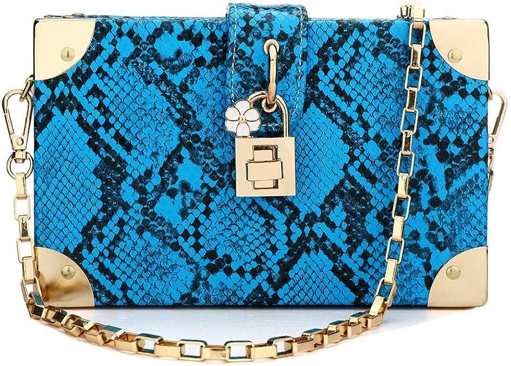 Womens Snakeskin Handbag Ladies Evening Clutch Crossbody Purse Shoulder Bag with Chain