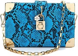 Snakeskin Handbag Ladies Party Prom Evening Box Clutch Crossbody Shoulder Chain Bag