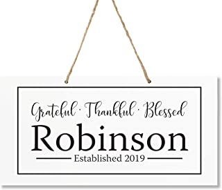 "LifeSong Milestones Personalized Last Name Family Sign Established Date Wall Decorations for Living Room - Home Wall Art - Wooden Rope Hanging Gift 7.75"" x 15.75"" (Grateful Thankful)"