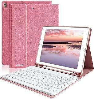 iPad Air3 2019キーボードケース iPad Pro10.5 キーボードカバー ワイヤレス Bluetooth キーボード 着脱式 手帳型 オートスリープ機能 スタンド機能 多角度調整 iPad10.5インチ対応 (ピンク)