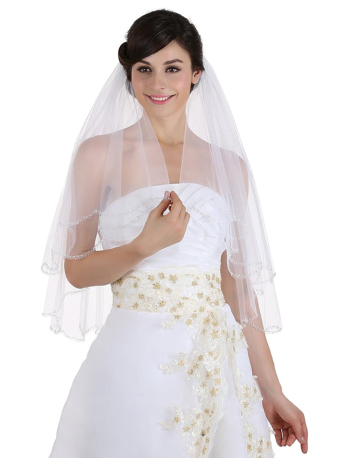 2T 2 Tier Beaded Scallop Edge Bridal Veil Elbow Length 30