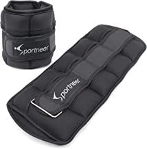 Sportneer Adjustable Ankle Weights Set Ankle Wrist Weight Straps 1 lbs to 7 lbs 2 Pack Black