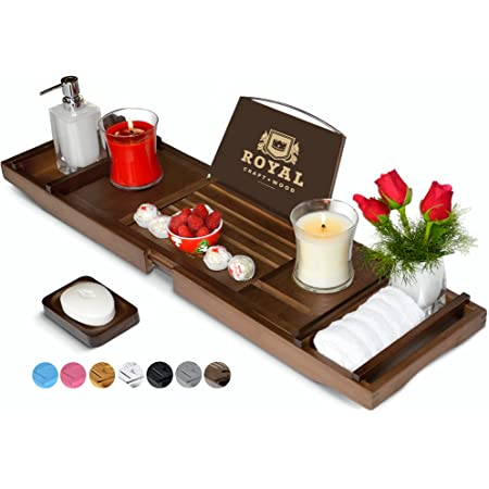 Luxury Bamboo Bathtub Caddy Tray - Adjustable Organizer Tray for Bathroom with Free Soap Dish (Brown)