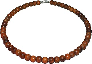 """Native Treasure Rosary Bead Necklace - Brown Exotic Robles Wood Beads - 8mm (5/16"""")"""