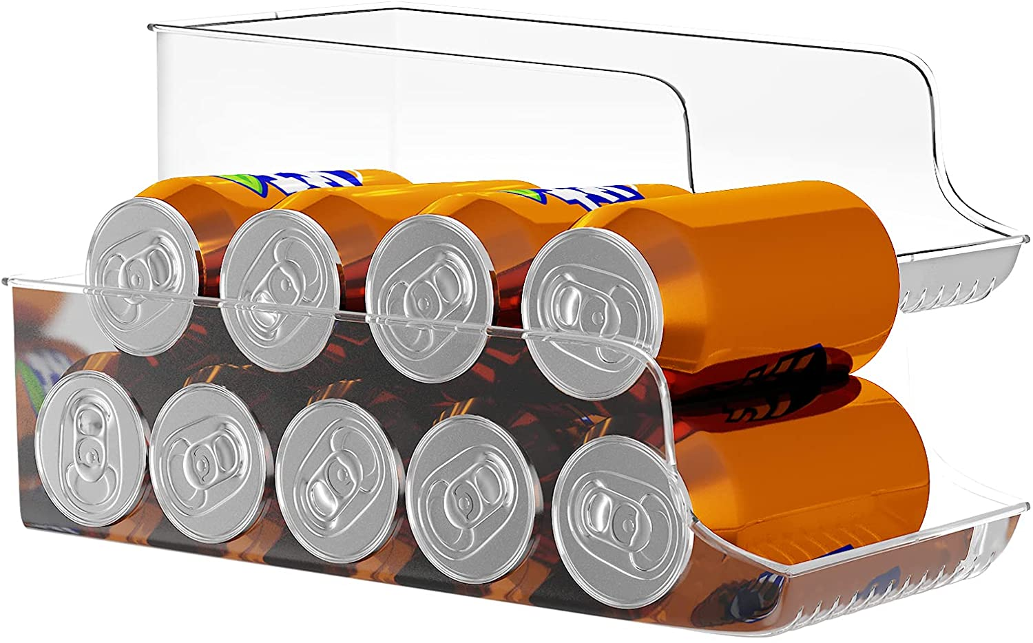 Anawin Refrigerator Organizer, 2 PCS a Set Fridge Organizer Bins for Refrigerator, Clear Plastic Canned Food Pantry Storage Rack for Freezer, Kitchen, Countertops, Cabinets, Soda Can Organizer