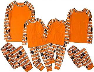 GDYJP Ensemble pyjama à manches longues pour famille Motif citrouille Orange Taille L