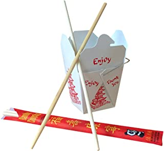 COMBO - Pack of 25 Chinese Take Out Boxes PAGODA 8 oz / Pint Size Party Favor and Food Pail With 25 Chopsticks