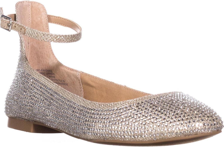 INC International Concepts I35 Fayena Ankle Strap Closed Heel Ballet Flats, Jade