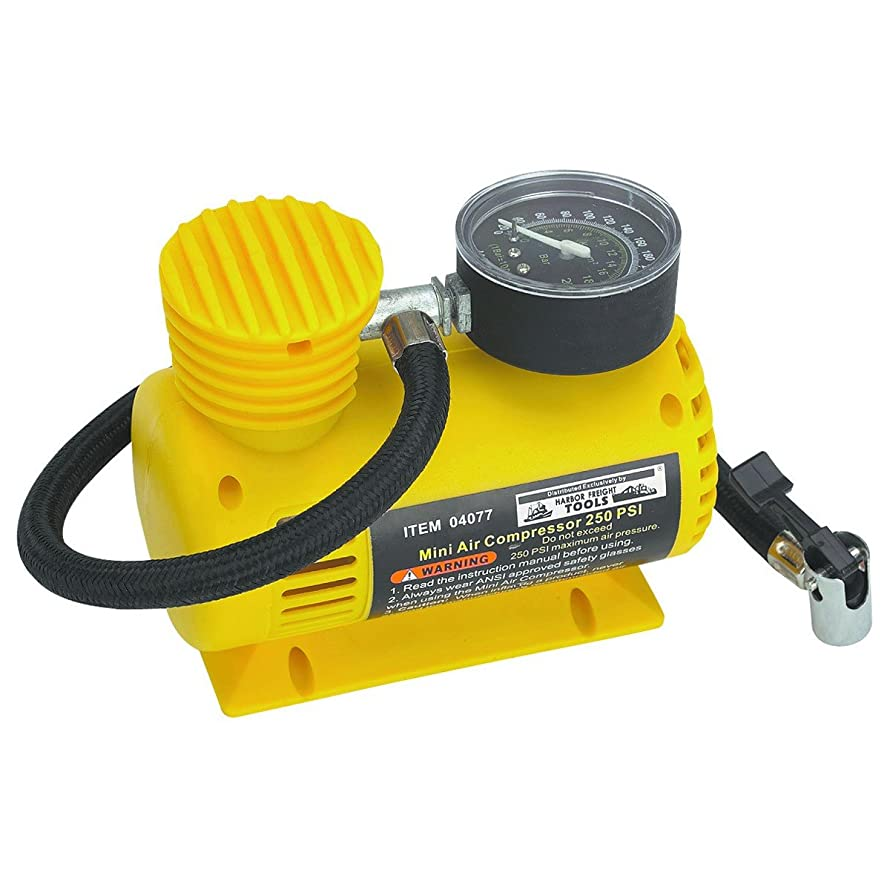 12V 250 PSI Compact Air Compressor; Sled-type Base Prevents Contamination From Dust and Dirt