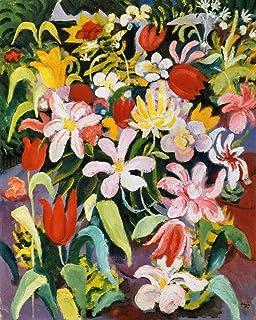 Kunst für Alle Reproduction/Poster: August Macke Blumenteppich - Affiche, Reproduction Artistique de Haute qualité, 40x50 cm