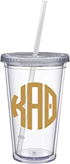 Kappa Alpha Theta Sorority Gold No Border Monogram Sticker Decal on Clear plastic Tumbler Greek Letter 16 oz. BPA Free