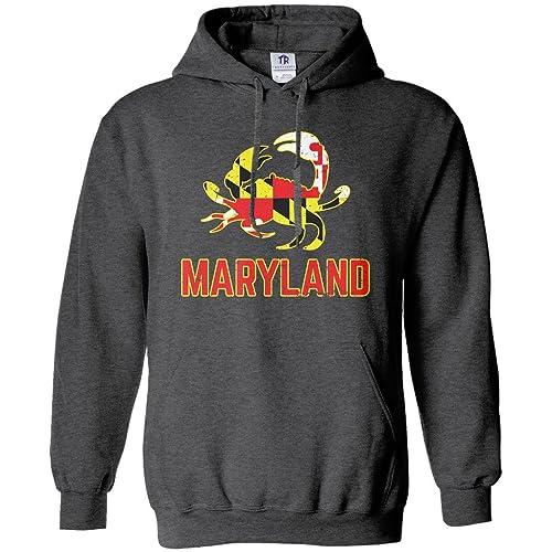 eeef7c3b623 Threadrock Maryland State Flag Crab Emblem Unisex Hoodie Sweatshirt