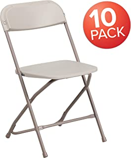 Flash Furniture 10 Pk. HERCULES Series 650 lb. Capacity Premium Beige Plastic Folding Chair