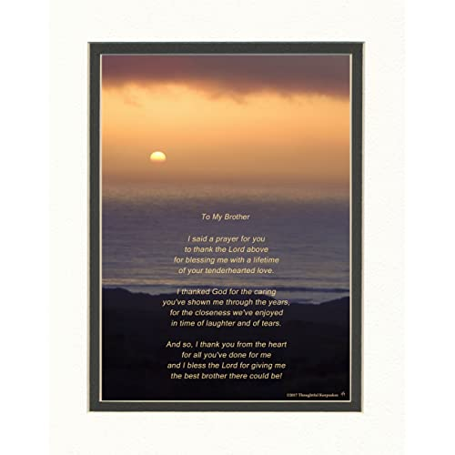 Brother Gift With Thank You Prayer For Best Poem Ocean Sunset Photo 8x10