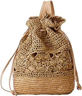 Woven Drawstring Backpack Straw Beach Bags Women Hollow Out Summer Backpack