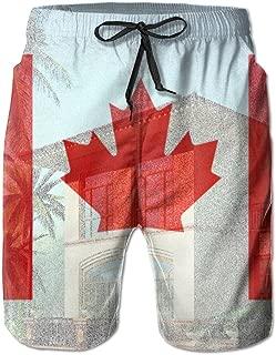 Honey Hall Mens Canada Flag Summer Printed Quick Dry Board Shorts Bathing Suits Swimwear Swim Trunks Beach Shorts