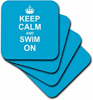 3dRose Keep Calm and Swim on - Blue Carry on Swimming - Hobby or Pro Swimmer Gifts - Pool Fun Funny Humor - Ceramic Tile Coasters, Set of 4 (CST_157778_3)